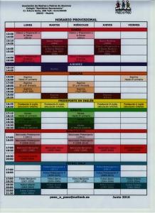 Horario provisional actividades deportivas 001